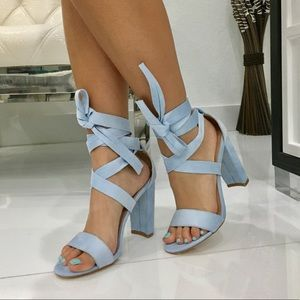 Shoes - Baby Blue suede lace up heel